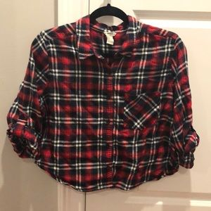 Cropped flannel top